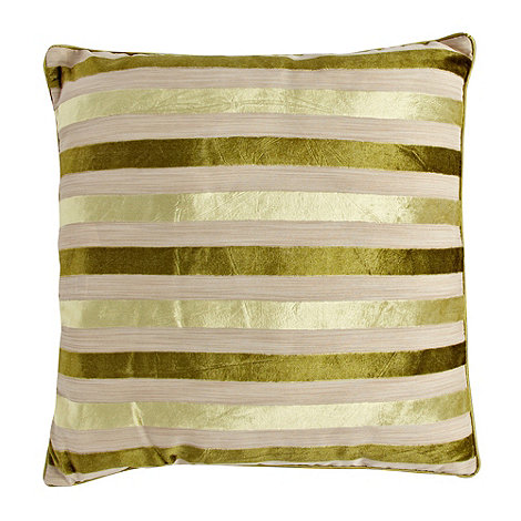 Debenhams - Green burnout striped cushion