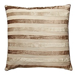 Debenhams - Taupe striped cushion