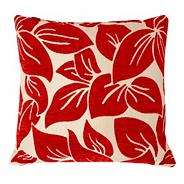 Red large textured leaf cushion