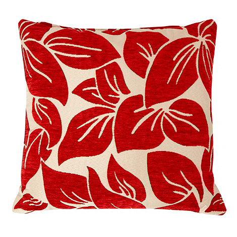 Home Collection - Red large textured leaf cushion