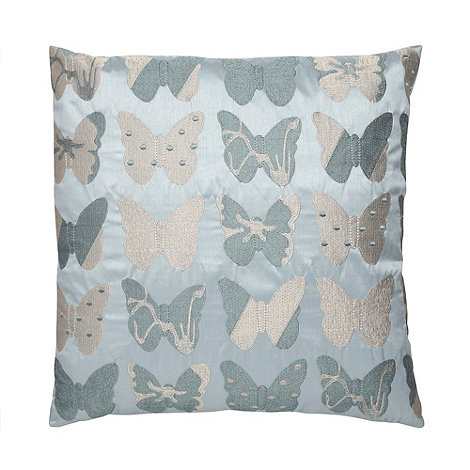 Debenhams - Pale aqua blue butterfly cushion