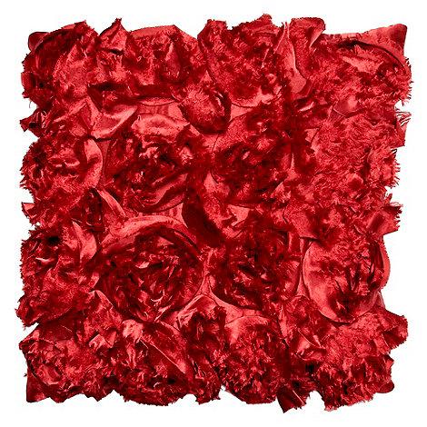 Debenhams - Red appliqued blossom cushion