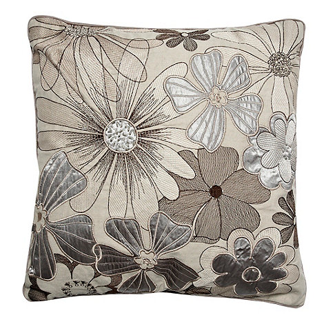 Debenhams - Grey appliqued flower cushion