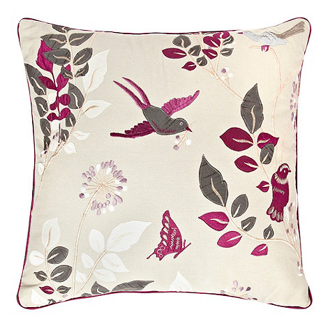 Home Collection - Purple embroidered bird cushion