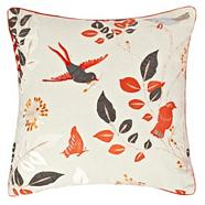 Orange embroidered bird cushion