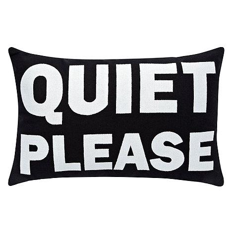 Ben de Lisi Home - Black +Quiet Please+ cushion