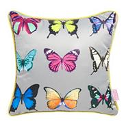 Turquoise butterfly printed cushion