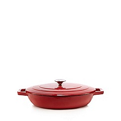 Home Collection - Red 30cm shallow cast iron casserole dish