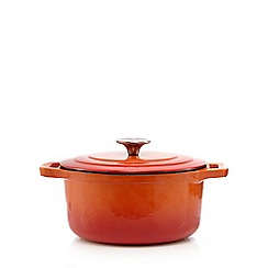 Home Collection - Orange 20cm cast iron casserole dish
