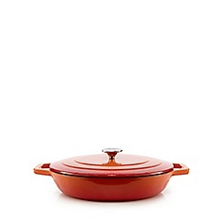Home Collection - Orange shallow cast iron casserole dish