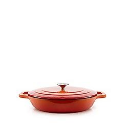 Home Collection - Orange shallow cast iron casserole dish