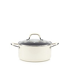 Home Collection - Cream 24cm non-stick aluminium stock pot with lid