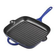 Denby cast iron 25cm 'Imperial Blue' square grill pan