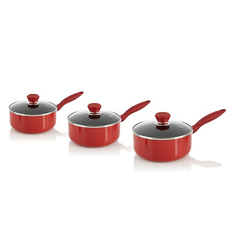 Home Collection Basics - Aluminium red 3 piece saucepan set with lids