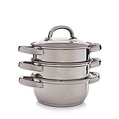Home Collection Basics - Set of three stainless steel 16cm steamers with lid