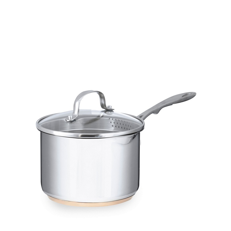 Debenhams Stainless steel 16cm saucepan with lid and copper base, Silver