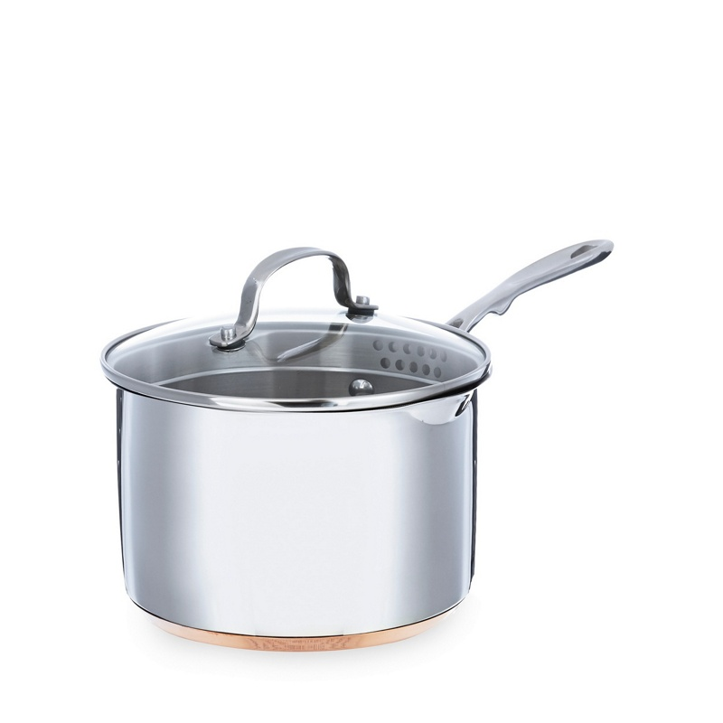 Debenhams Stainless steel 18cm saucepan with lid and copper base, Silver