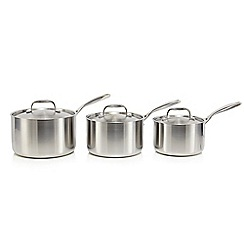 J by Jasper Conran - Set of three stainless steel tri-ply saucepans