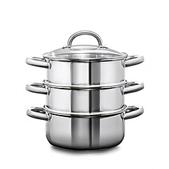 Home Collection - Set of three stainless steel 20cm steamers with lid