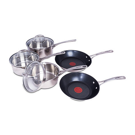Tefal - Stainless steel easy strain 5 piece cookware set