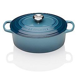 Le Creuset - Marine blue cast iron 23cm induction oval casserole dish
