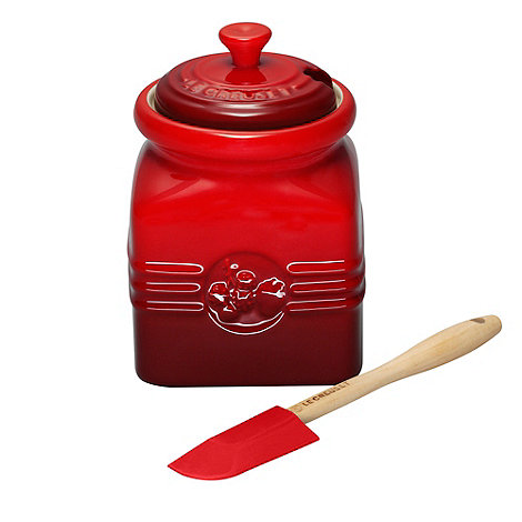 Le Creuset - Stoneware +Cerise+ berry jam jar and spoon set