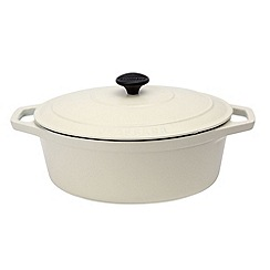 Chasseur - Cast iron meringue satin 29cm oval deep casserole dish