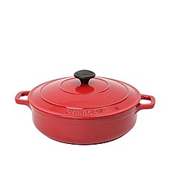 Chasseur - Cast iron chilli red 20cm low round casserole dish