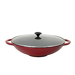 Chasseur - Cast iron chilli red 24cm low round casserole dish
