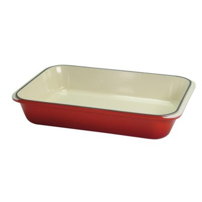 Chasseur Cast iron chilli red rectangular roasting dish - . -