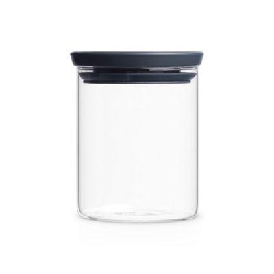 Brabantia 0.6 liter glass jar with dark grey lid - . -