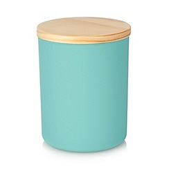 Home Collection Basics - Turquoise small wooden top storage jar