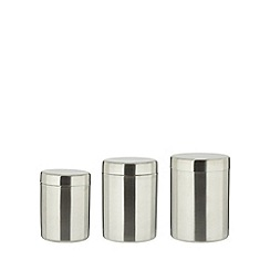 Home Collection Basics - Set of three silver metal storage jars
