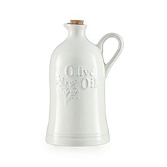 Home Collection - Cream ceramic embossed oil bottle