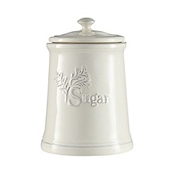 Home Collection - Cream ceramic embossed sugar jar