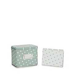At home with Ashley Thomas - Light green polka dot recipe tin