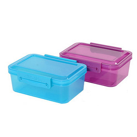 Clic Tite - Pack of two turquoise and purple 1.1l lunch boxes