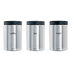 Brabantia - Steel plated set of three 1.4ltr tea, coffee and sugar canisters