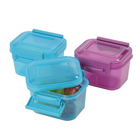 Clic Tite - Click Tite pack of three turquoise and purple 360ml lunch boxes