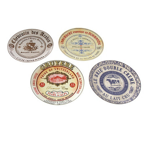 Creative Tops - Porcelain set of four +Gourmet Cheese+ plates