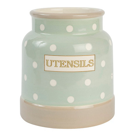 T&G Woodware - Cream & Country Mint Spot Utensil Jar