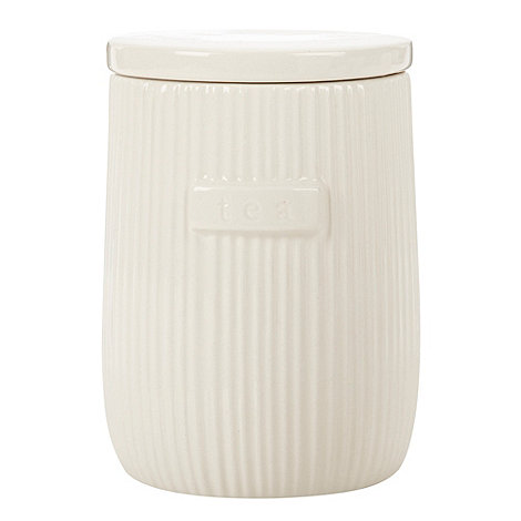 Debenhams - Ceramic ribbed +Tea+ jar