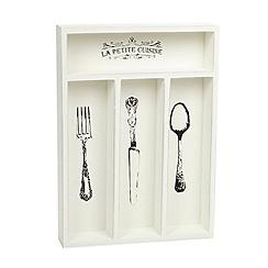 Debenhams - Cream wooden 'La Petite Cuisine' cutlery tray