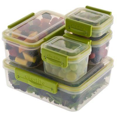 Clic Tite Clic-Tite five piece green 1.1l container set - . -