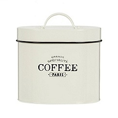 Debenhams - Cream 'Coffee' storage tin