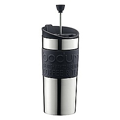 Bodum - Silver travel mug with press