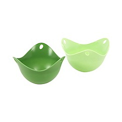 Fusionbrands - Set of two green silicone egg poaching pods