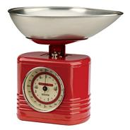 Typhoon stainless steel red 'Vintage' kitchen scales