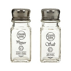 Debenhams - Glass 'La Petite Cuisine' salt and pepper shakers