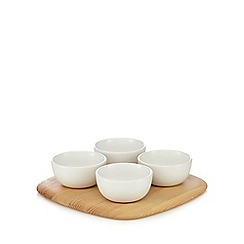 RJR.John Rocha - Set of four white dipping dishes with a wooden base
